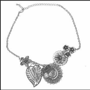 Silver Flower Statement Necklace